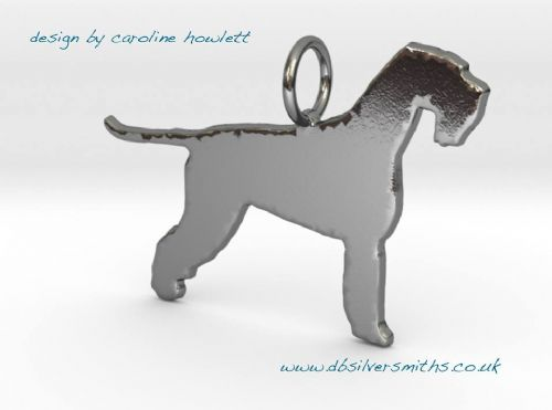 Giant Schnauzer natural dog silhouette pendant sterling silver handmade by saw piercing Caroline Howlett Design